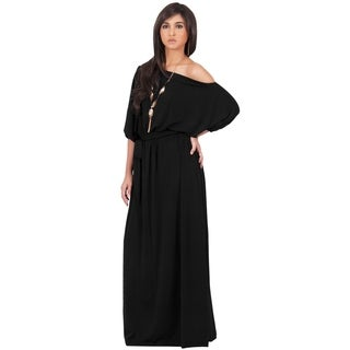MACY Women's Black One-shoulder 3/4-sleeve Maxi Dress