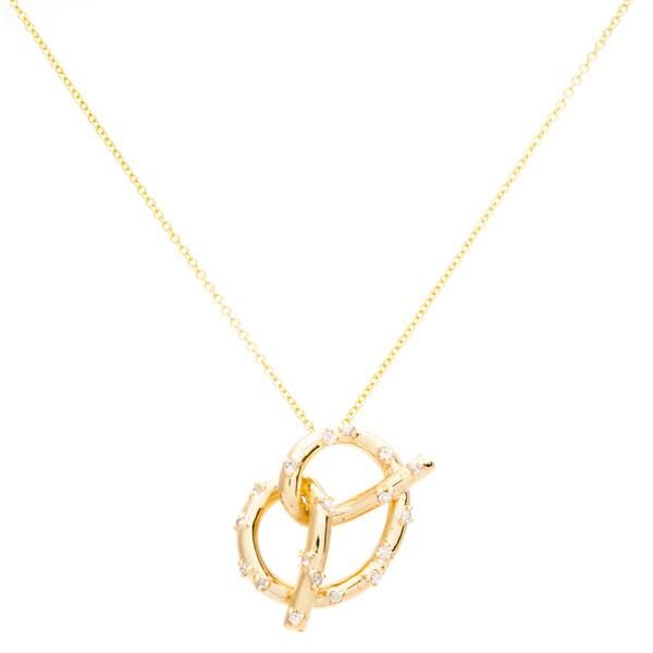 EFFY Final Call 14k Yellow Gold Diamond Pretzel Twist Pendant Necklace