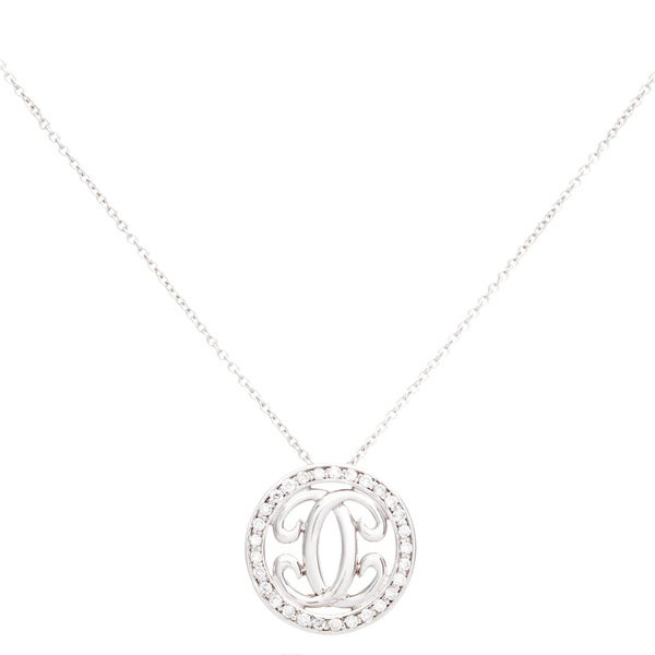 EFFY Final Call 14k White Gold Diamond Pave Circle Pendant Necklace