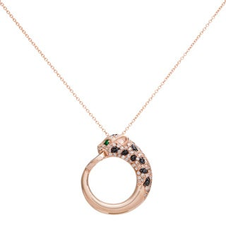 EFFY 14k Rose Gold Diamond and Emerald Jaguar Pendant by EFFY Final Call (H-I, I1-I2)