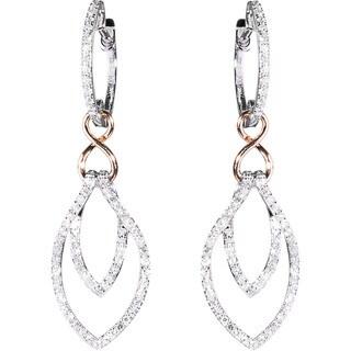 EFFY Final Call 14k White Gold 1/2 Ct TDW Diamond Dangle Hoop Earrings (D-E, VVS1-VVS2)