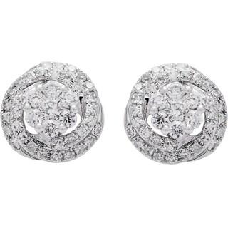 EFFY 14k White Gold Diamond Swirl Stud Earrings by EFFY Final Call (H-I, I1-I2)