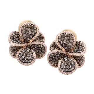 EFFY Final Call 14k Rose Gold 2 3/4ct TDW Brown and White Diamond Flower Stud Earrings (D-E, VVS1-VVS2)