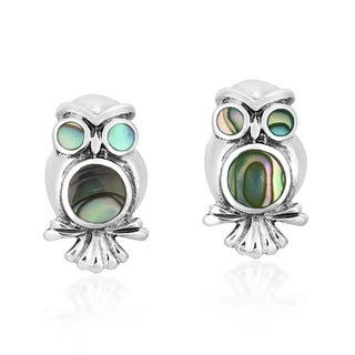 Spirit of Wisdom Owl Stone Sterling Silver Stud Earrings (Thailand)