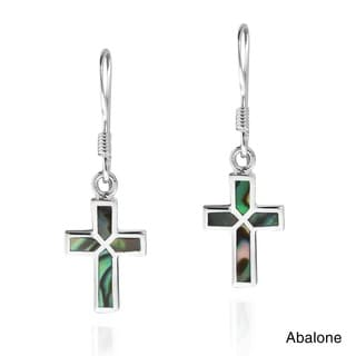 Mini Cross Inlaid Stone Sterling Silver Dangle Earrings (Thailand)