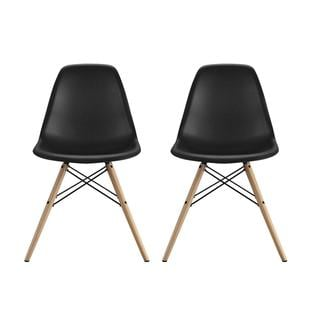 DHP Black Eames Replica Molded Chair with Wood Leg, Set of 2