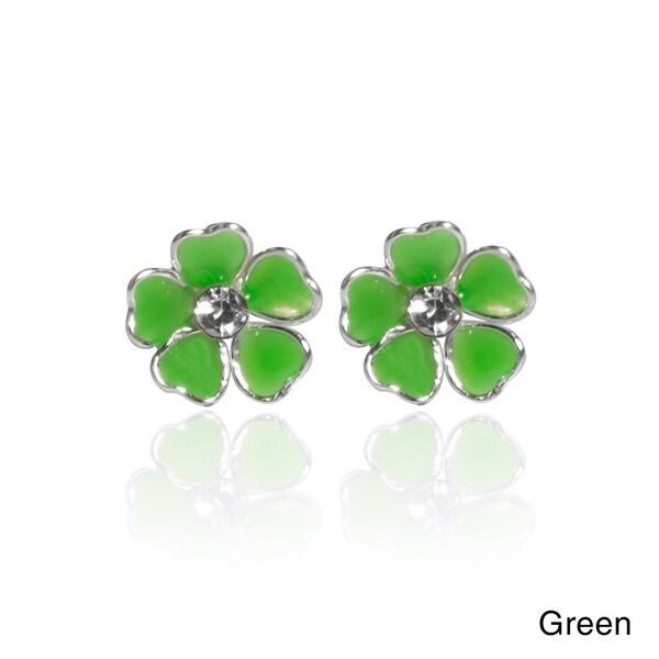 Mini Heart Plumeria Enamel Sterling Silver Stud Earrings (Thailand)