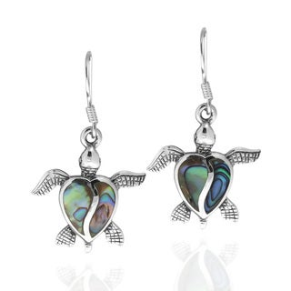 Sea Turtle Abalone Shell Sterling Silver Dangle Earrings (Thailand)