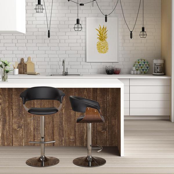 DHP Black Faux Leather/Walnut Adelaide Swivel Barstool