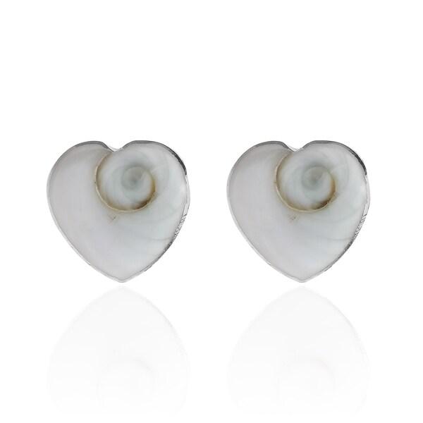 Swirl Shiva Shell .925 Sterling Silver Stud Earrings (Thailand)