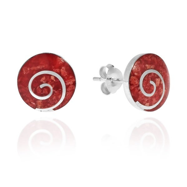Red Coral Round Disc .925 Sterling Silver Post Earrings (Thailand)