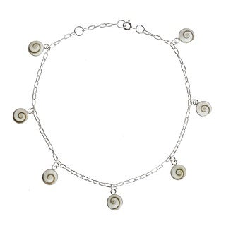 Shiva Shell Mantra Sterling Silver Dangle Anklet (Thailand)