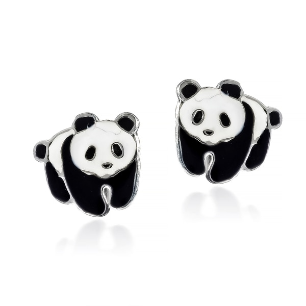 Adorable Panda Bear Enamel Sterling Silver Stud Earrings (Thailand) 16205043