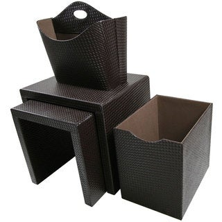 Off White Leatherette Console With 2 Matching Storage