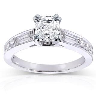 Annello 14k White Gold 1 1/2ct TDW Cushion Diamond Engagement Ring (H-I, I1-I2)
