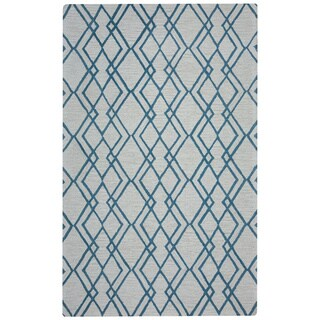 Arden Loft Easley Meadow Ivory/ Light Blue Geometric Abstract Hand-tufted Wool Area Rug (9' x 12')