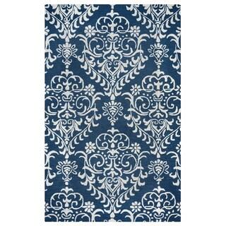 Arden Loft Falmouth Fields Indigo/ Beige Floral Hand-tufted Wool Area Rug (9' x 12')