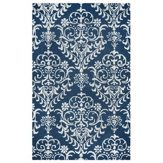 Arden Loft Falmouth Fields Indigo/ Beige Floral Hand-tufted Wool Area Rug (10' x 14')