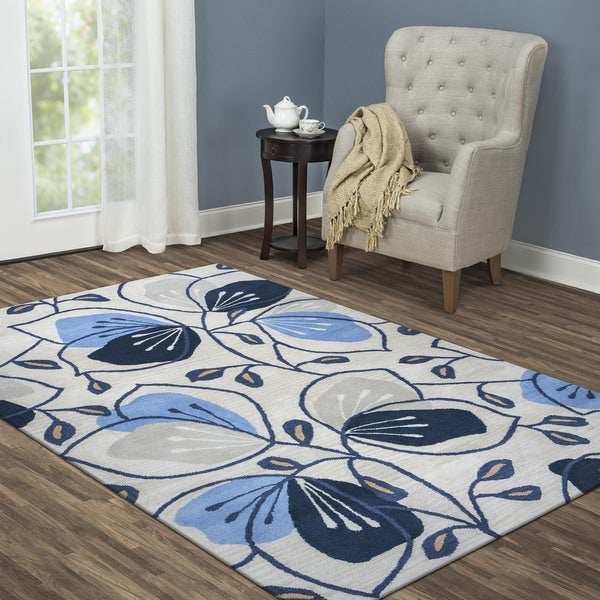 Arden Loft Lewis Manor Natural/ Blue Floral Hand-tufted Wool Area Rug (5' x 8')