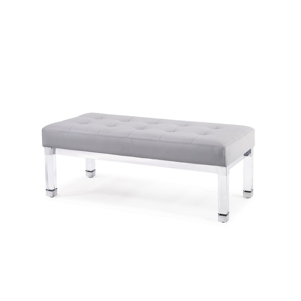 Whitley Tufted Bench, Silver