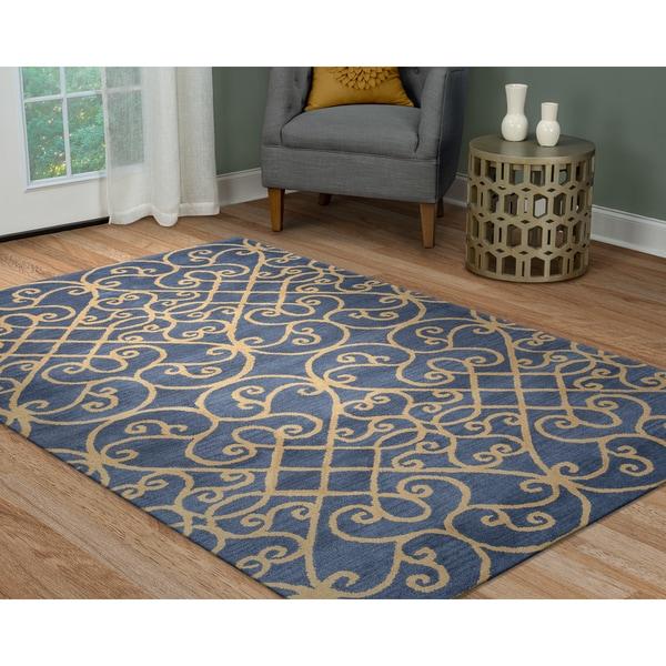 Arden Loft Lewis Manor Blue/ Khaki Ornamental Hand-tufted Wool Area Rug (9' x 12')
