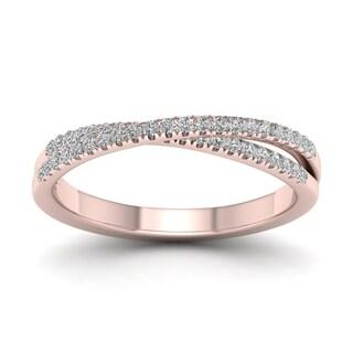De Couer 10k Gold 1/4ct TDW Diamond Cross-Over Ring (H-I, I2)