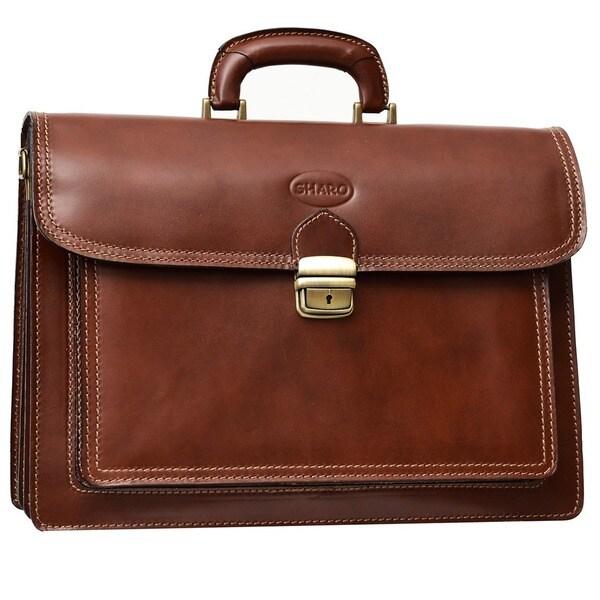 Sharo Genuine Raisin Brown Italian Leather 15-inch Laptop Briefcase/ Messenger Bag