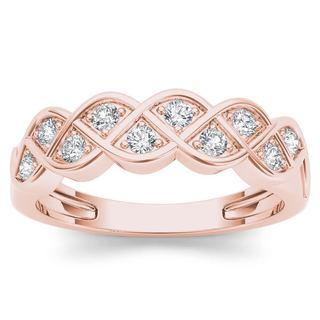 De Couer 10k Rose Gold 1/4ct TDW Diamond Entangled Lace Ring (H-I, I2)