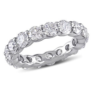 Miadora Signature Collection 18k White Gold 4ct TDW Diamond Eternity Ring (G-H, I1-I2)