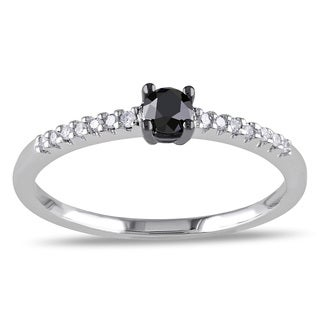 Miadora 10k White Gold 1/4ct Black and White Diamond Ring (G-H, I2-I3)
