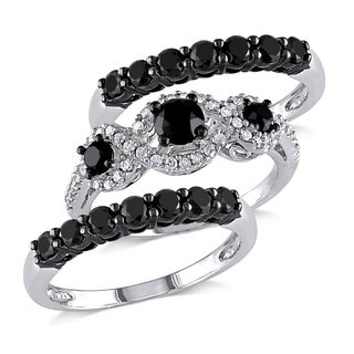 Miadora Signature Collection 10k White Gold 2ct TDW Black and White Diamond 3-piece Bridal Ring Set(G-H,I2-I3)