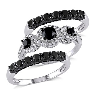 Miadora 10k White Gold 2ct TDW Black and White Diamond 3-piece Bridal Ring Set(G-H,I2-I3)