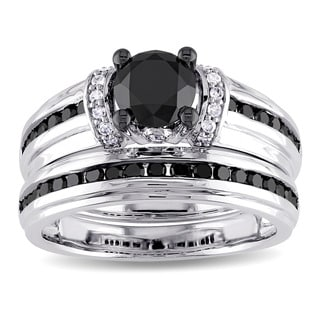 Miadora 10k White Gold Black and White Diamond Bridal Ring Set