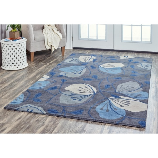 Arden Loft Lewis Manor Grey/ Blue Floral Hand-tufted Wool Area Rug (8' x 10')