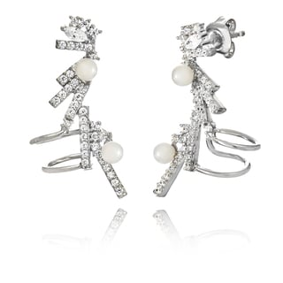 Pori 18k White Goldplated Sterling Silver Shell Pearl and Cubic Zirconia Cuff Earrings