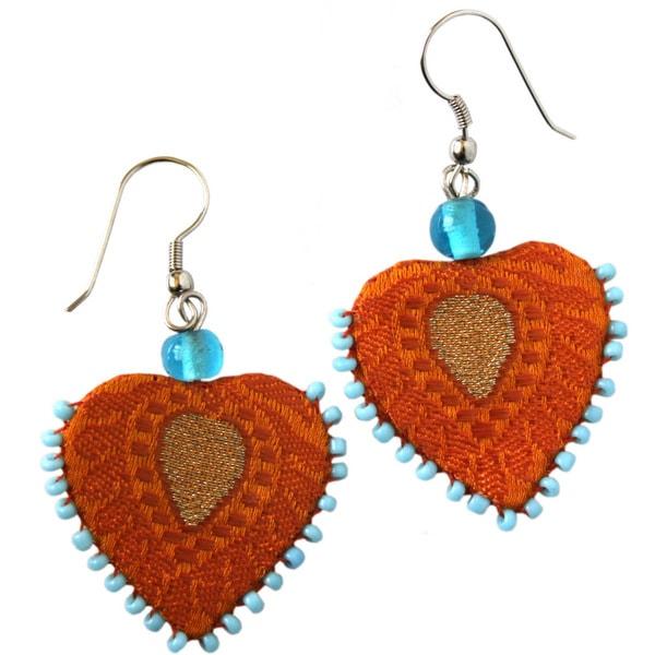Recycled Silk Sari Assorted Heart Earrings (India)