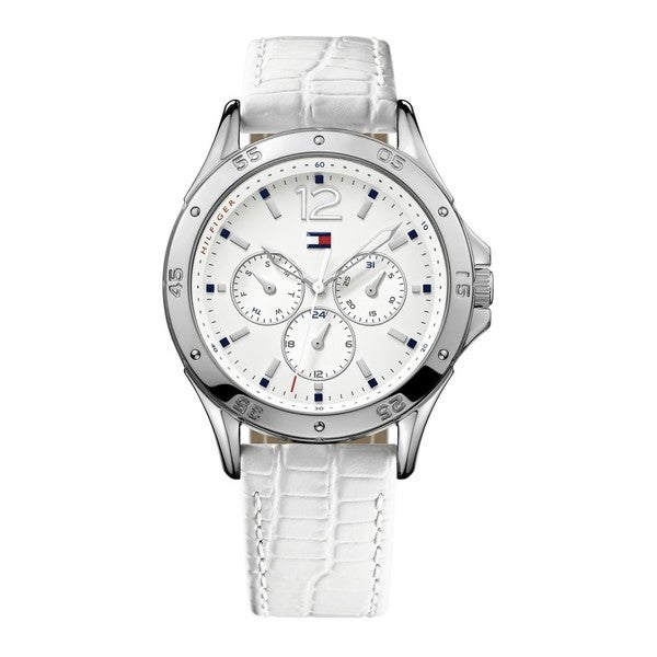 Tommy Hilfiger Women's Multi-Function White Dial White Leather Watch 1781300