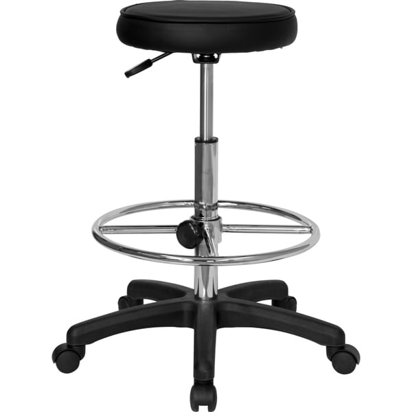 Black Chrome Drafting Backless Stool
