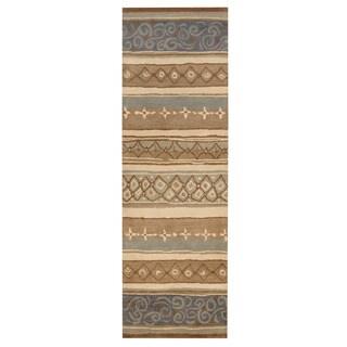 Herat Oriental Indo Hand-tufted Tibetan Light Blue/ Ivory Wool Rug (2'7 x 8')