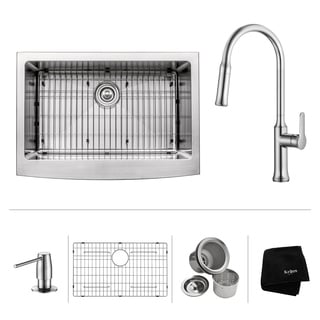 Kraus 30-inch Apron Front Single Bowl Stainless Steel Sink w/ Pull Down Faucet