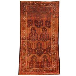 Herat Oriental Afghan Hand-knotted Tribal Balouchi Rust/ Brown Wool Rug (4'6 x 8'8)