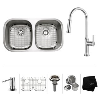Kraus 32-inch Undermount 50/50 Double Bowl Stainless Steel Sink w Pull Down Faucet