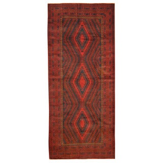 Herat Oriental Afghan Hand-knotted Tribal Balouchi Navy/ Red Wool Rug (4'10 x 11'6)