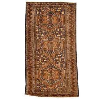 Herat Oriental Afghan Hand-knotted Tribal Balouchi Brown/ Green Wool Rug (4'4 x 8')