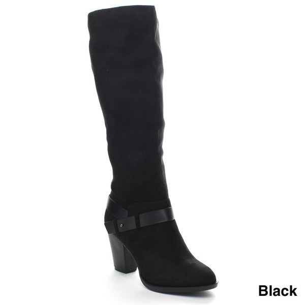 Delicous Elfin Women Soft Ankle Strap Zip Up Stacked Heel Dress Knee High Boot
