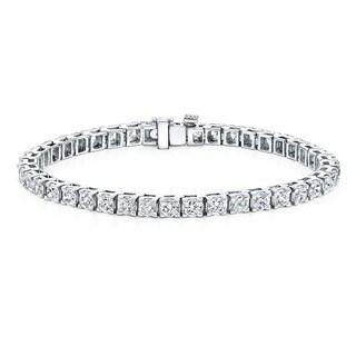 Auriya 14k Gold 10ct TDW Round Cut Diamond Tennis Bracelet (G-H, I1-I2)