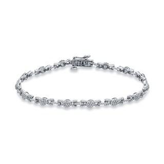 Auriya 14k White Gold 1 1/4ct TDW Round Cut Diamond Bracelet (G-H, I1-I2)