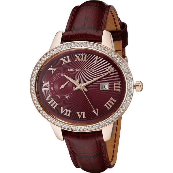 Michael Kors Women's MK2430 'Whitley' Crystal Red Leather Watch 16207192