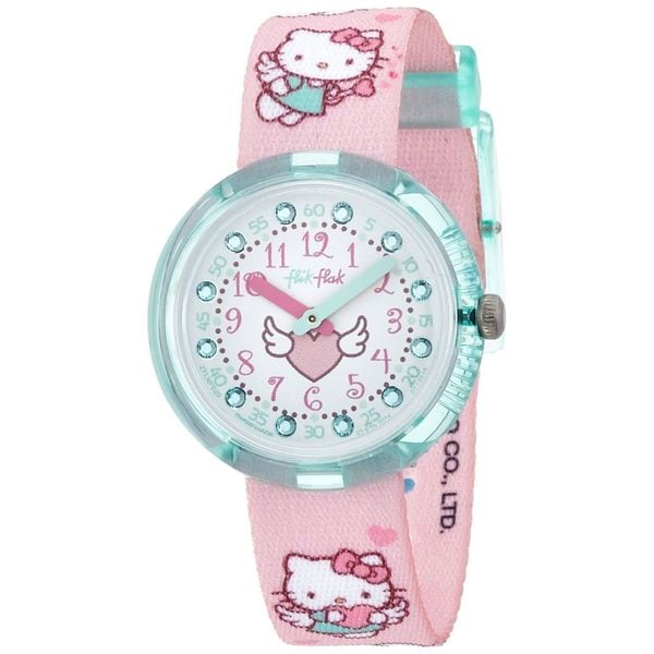Swatch Kids ZFLNP020 'Flik Flak Hello Kitty' Crystal Pink Nylon Watch