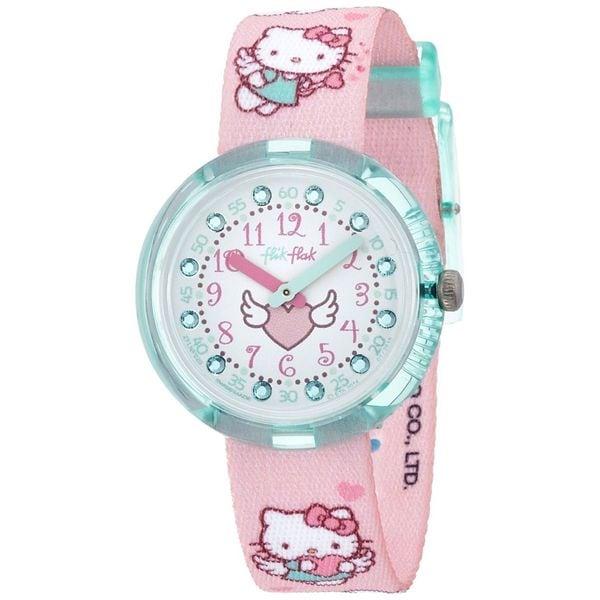 Swatch Kids ZFLNP020 'Flik Flak Hello Kitty' Crystal Pink Nylon Watch